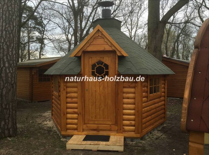 6 eck grillkota nh 9 2 mit saunaanbau naturhaus. Black Bedroom Furniture Sets. Home Design Ideas
