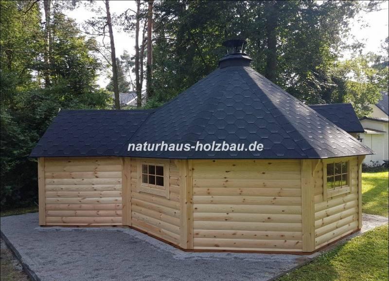 nordische 8 eck grillkota 16 5 mit saunaanbau 4 92 m naturhaus vertriebs gmbh. Black Bedroom Furniture Sets. Home Design Ideas